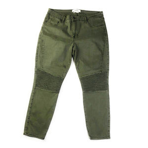 Pistola Audrey Olive Green Moto Ankle Jeans